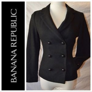 Banana Republic Black Wool Double Breasted Jacket